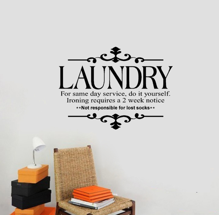 NEW Laundry for same day service do it yourself Wall Stickers lettering Vinyl decal decoration Art home bedroom window shop(China (Mainland))