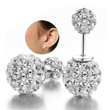 Hot 925 Sterling Silver Earrings Rhinestone Double Ball Crystal Stud Earrings For Women Fashion Jewelry brincos para as mulheres(China (Mainland))