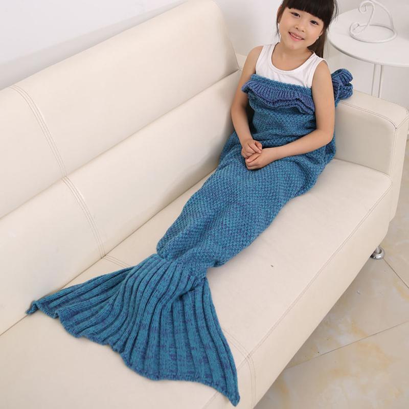 2016 Blankets Handmade Mermaid Fish Tail Sofa Knitted Yarn Throw kids children Sleeping Bag swaddle air conditioning blankets(China (Mainland))
