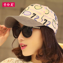 Hat female summer coating sun-shading outdoor sunscreen baseball cap Korean version fashion hit color graffiti adjustable size