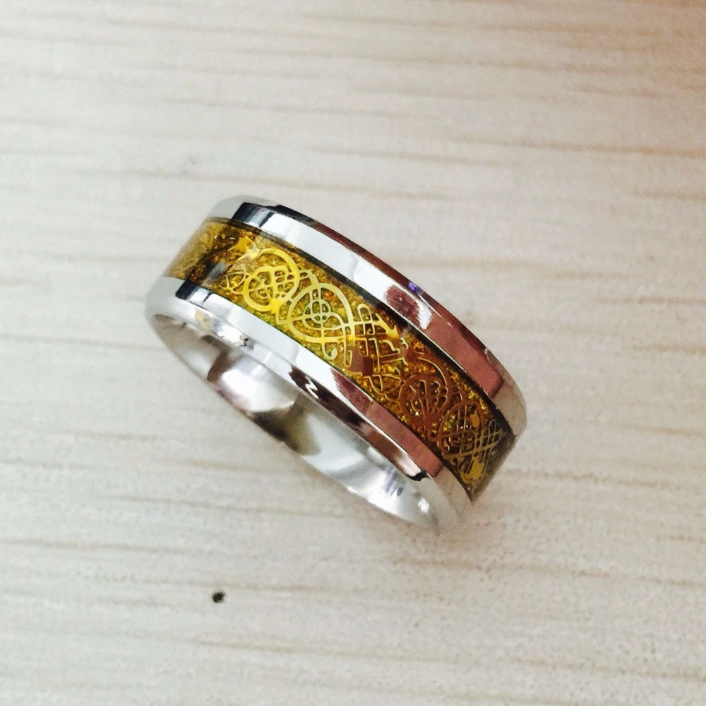 Men's Dragon ring, tungsten gold personality tail single offered fashion ring for Christmas(Hong Kong)