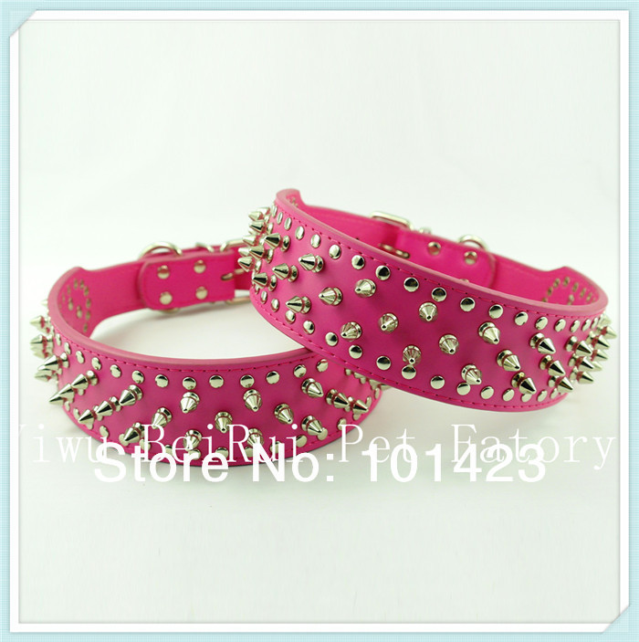 Free Shipping 2inch *26inch Berry Real Leather Spikes Studded Dog Collars Pitbull Collars(China (Mainland))