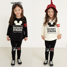 2016 Girls clothes Spring autumn sport cartoon mickey T shirt + pants two piece children clothing set 3-11 years kids clothes