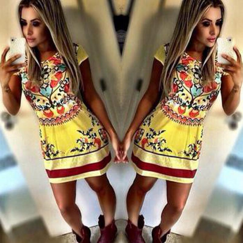 2015 New Summer Dress Hot Sale Printed Big Size S-XL Chiffon Dress Limited Time Discount Thin Material free shipping(China (Mainland))