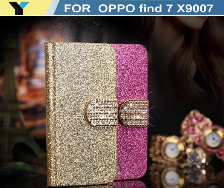 Luxury bling case For Oppo Finder X907 Mobile Phone Case Lady Wallet case with Rhinestone fold flip leather cover housing(China (Mainland))