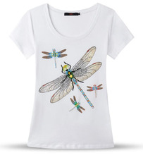 [Mikeal] Hand beading T shirt women tops fashion sequined hot fix rhinestone 4 dragonfly cotton t-shirt lady clothes 3836(China (Mainland))