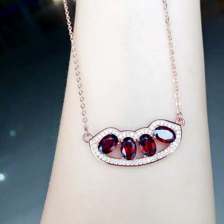Exclusive new 925 silver inlaid Natural Garnet Necklace in kind more beautiful women love gifts<br><br>Aliexpress