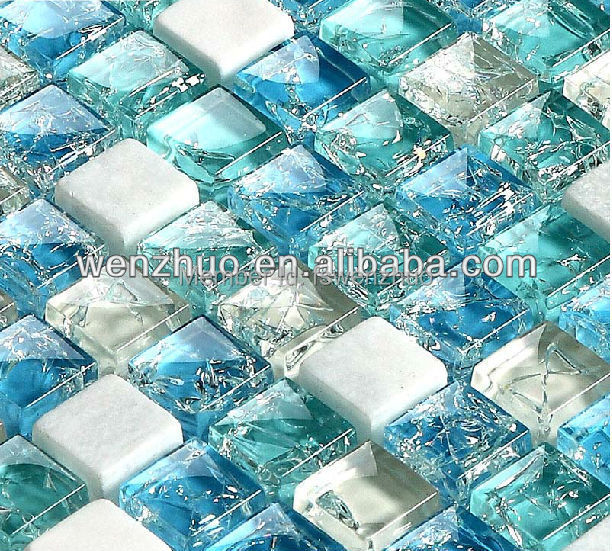 Blue broken glass brick mosaic tile in mosaics from home for Cracked mirror tiles