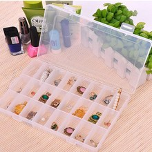 Buy Transparent Plastic 10/15/24 Slots Jewelry Storage Box Case Adjustable Beads Earring Jewelry Holder Home Organizer Container for $1.44 in AliExpress store