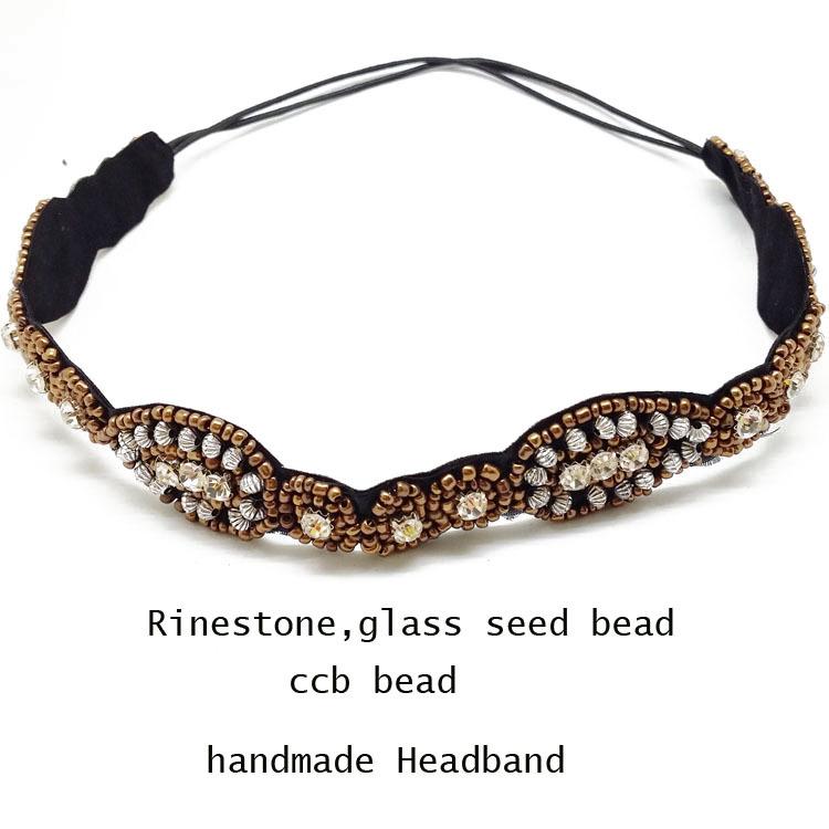 Free shipping ancient glass bead and rhinestone handmade elastic headbandof women Hair Accssories wholes and retails(China (Mainland))