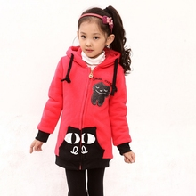 New baby girl outerwear Longer thicker Warm Cashmere coat kids girls fashion jacket clothing Child Spring autumn winter clothes(China (Mainland))