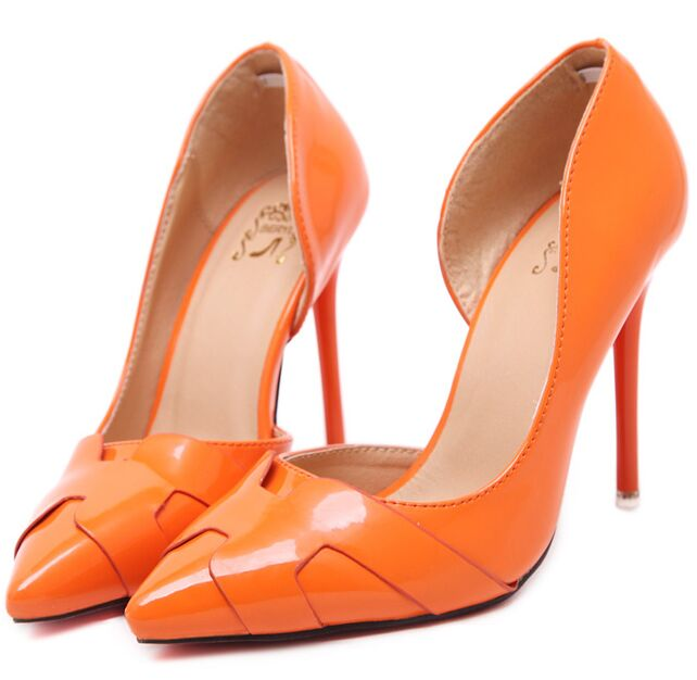 Size 4~8 Beauty Red Bottom Women Shoes Autumn Pointed Toe Sexy Orange High Heels Women Pumps zapatos mujer<br><br>Aliexpress
