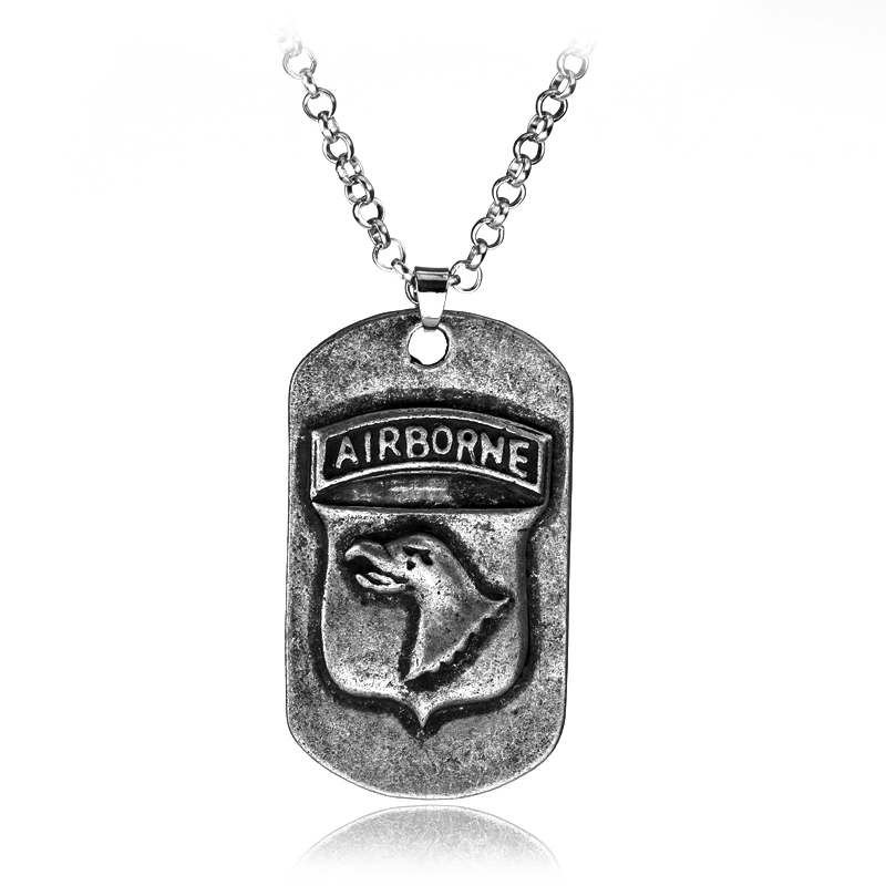 COOL US ARMY STYLE AIRBORNE NECKLACE AIRBORNE DOG TAG PENDANTS-L0050(China (Mainland))