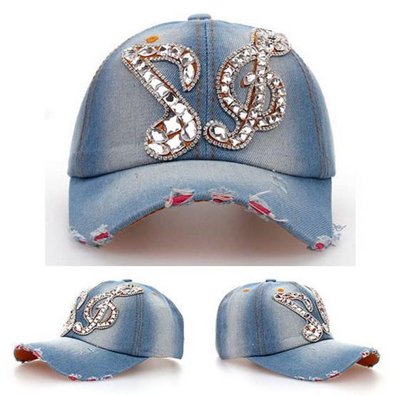 Beautiful note Glass paste Denim Crushed sports baseball hat hip-hop caps hats for women snapback bone swag gorras chapeu mz-042(China (Mainland))