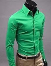 Men Dress Shirts Slim Fit Casual Blouse Turn down Collar Unique Neckline Stylish Long Sleeve 2015