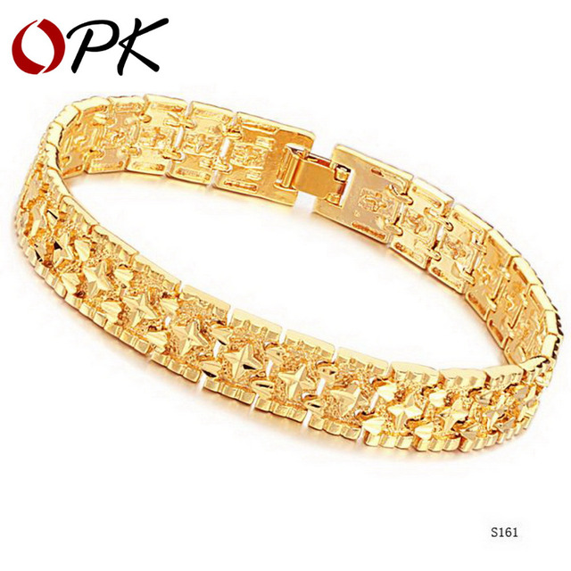 OPK JEWELRY delicate sculpture band Gold plated Bracelet & Bangle retro style wide wristband infinity bracelet hot, 161