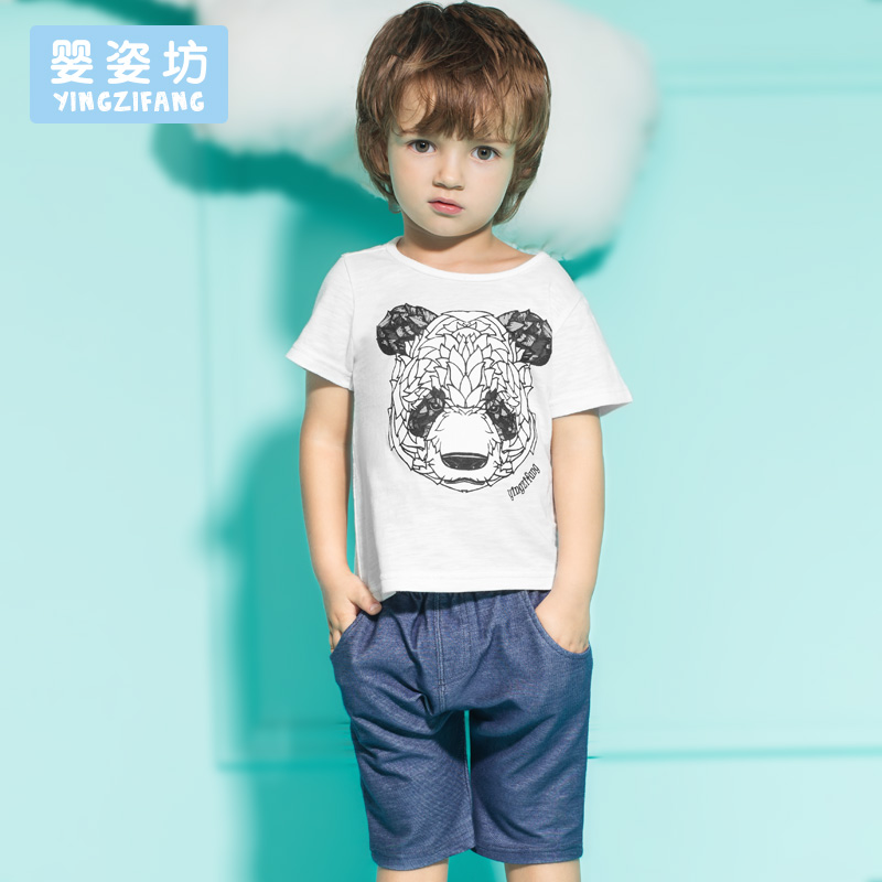 Summer 2016 New Baby Boy Girl Clothes Pattern Panda Toddler Boys Clothing kids clothes Set 2 Pieces(China (Mainland))
