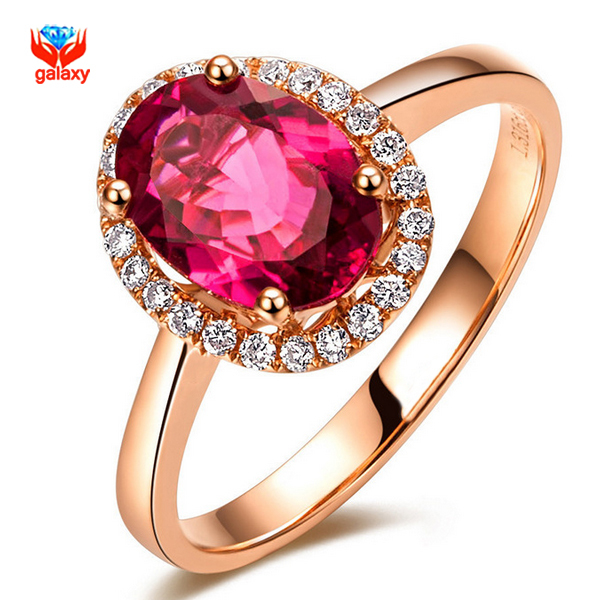 GALAXY Brand Fashion Red Ruby Wedding Rings For Women Real 18K Rose Gold Plated Genuine SWA