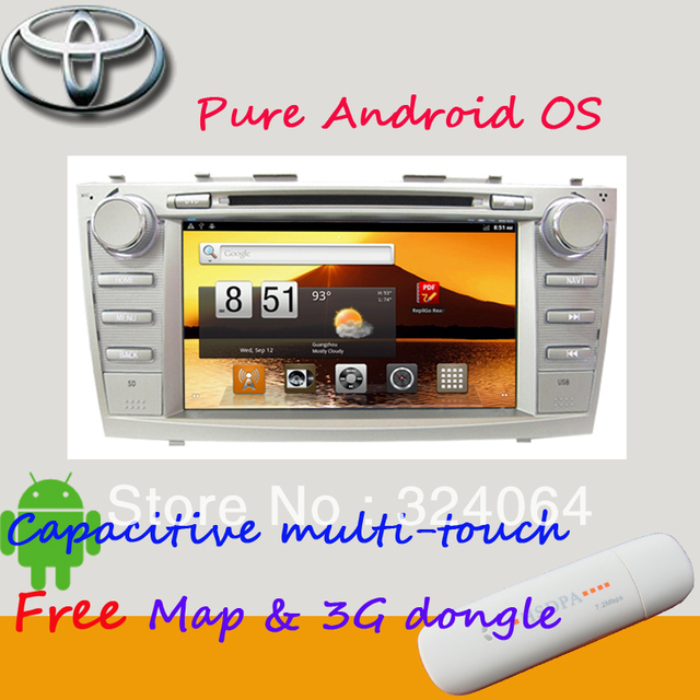 8 inch Toyota Camry android 2.3 capacitive touch car dvd player with bluetooth RDS analog TV gps Free 3G&wifi dongle