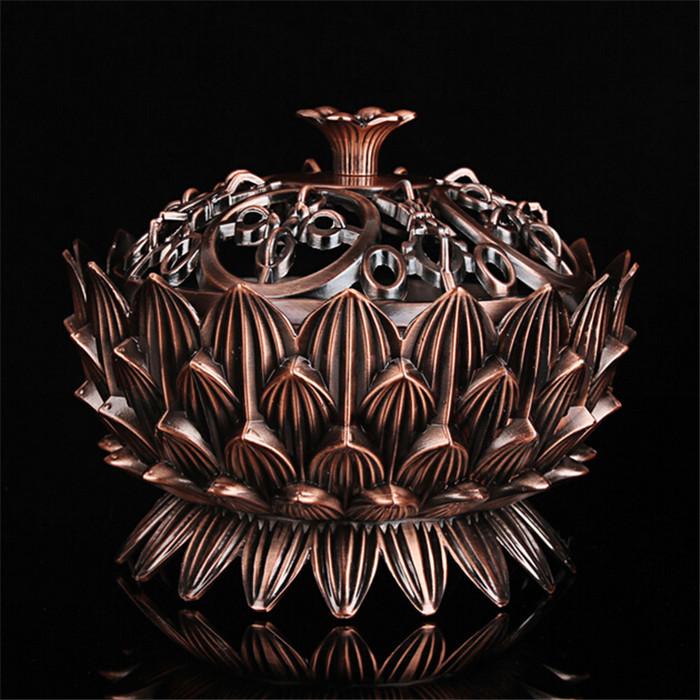 Tibetan Lotus Incense Burner Alloy Bronze Mini Incense Burner Metal Craft Home Decor 6*6*6.5cm XYZ-74,Free Shipping(China (Mainland))