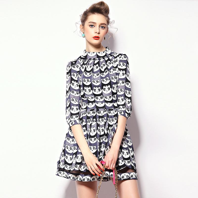 Fasicat Lanon Bear Printed One Piece Dress Half Sleeve O Neck vestidos femininos Knee Length Spring Dress Q150391(China (Mainland))