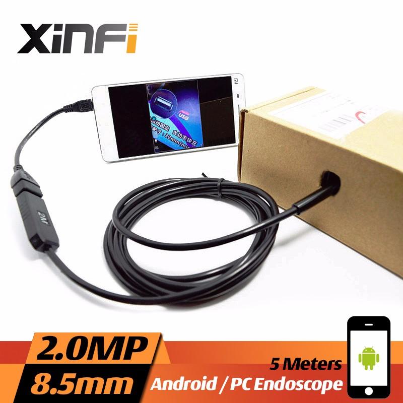 Xinfi 10mm 1.3MP USB Endoscope 10M cable mini sewer camera Borescope for PC windows USB pipe camera Snake Camera car inspection