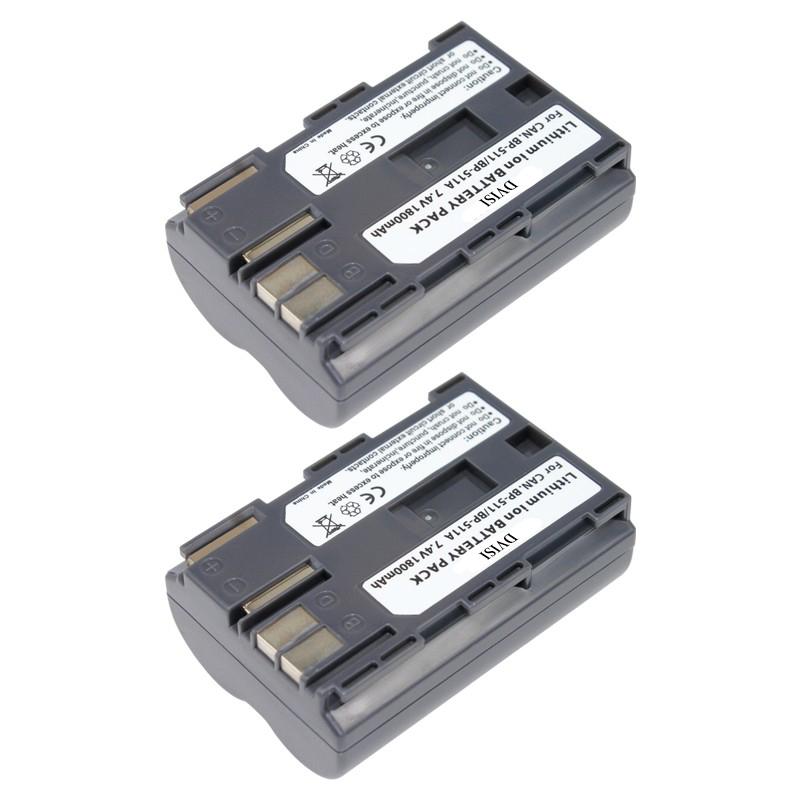 2Pcs/lot 7.4V 1.8Ah BP-511A Batteries BP 511A BP511A 511 Camera Battery For Canon EOS 300D 10D 20D 30D 40D 50D D30 D60 5D G6(China (Mainland))