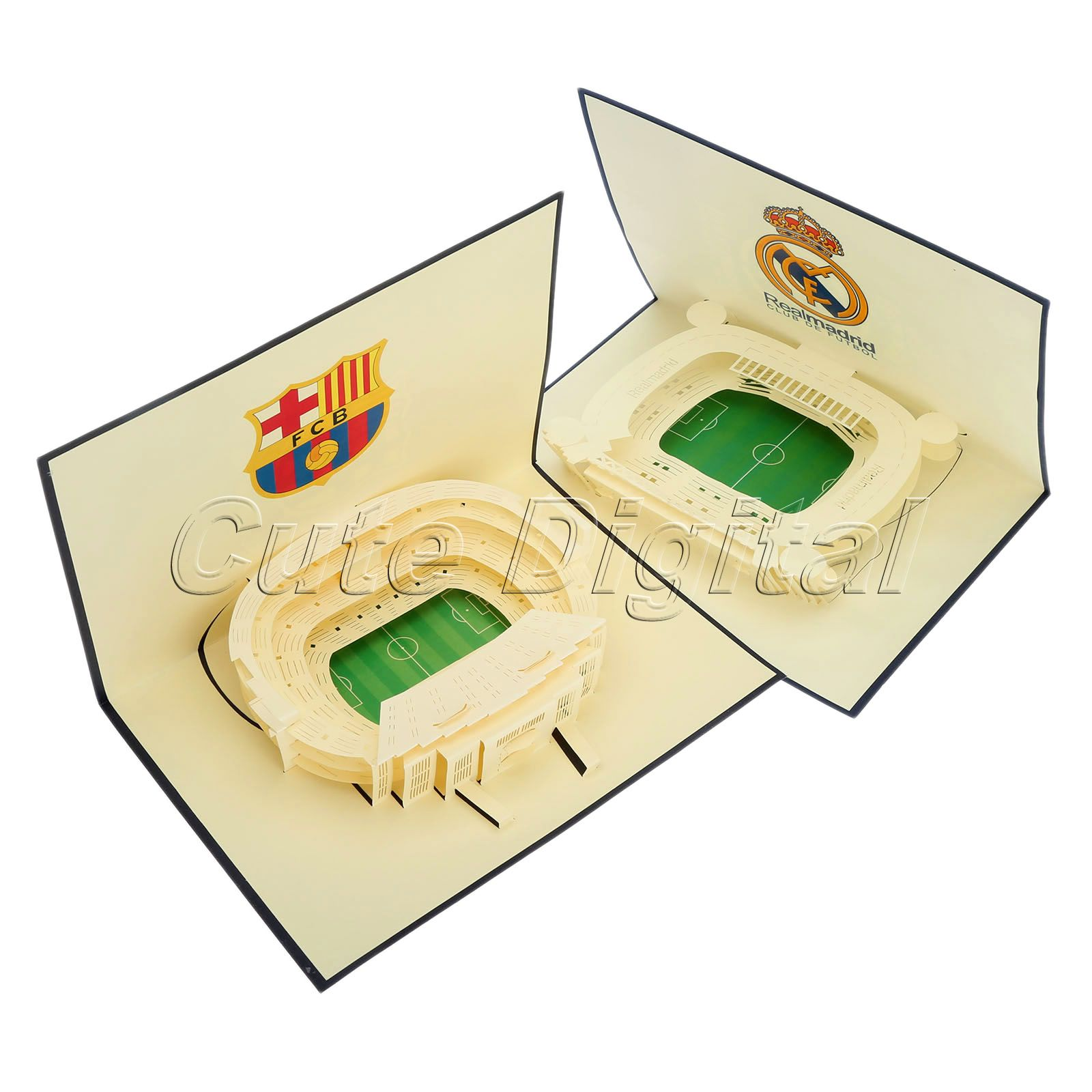 Handmade Paper 3D Pop Up Holiday Greeting Card Football Field Wedding Birthday New Year Christmas Thank You Postcards w/Envelope(China (Mainland))