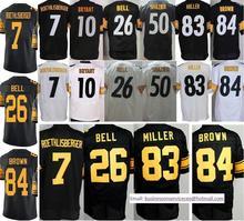 Cheap 7 Ben Roethlisberger 10 Bryant 26 Le'Veon Bell 43 Polamalu 48 Bud Dupree 83 Heath Miller 84 Antonio Brown Black White(China (Mainland))