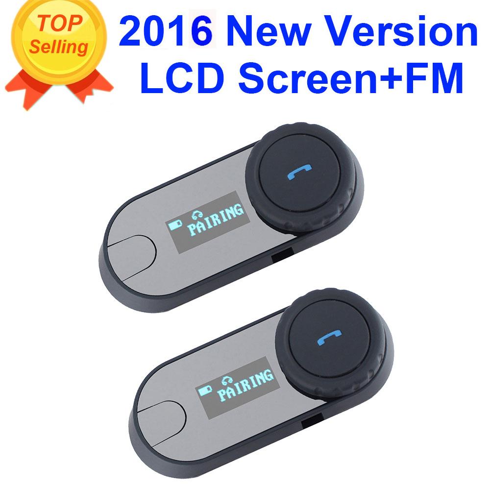 2pcs BT Motorcycle Helmet Headset Intercom Talkie FM Radio +LCD Screen(China (Mainland))