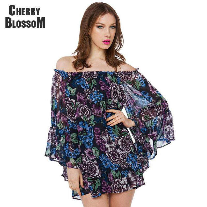 Women Chiffon Dress 2016 Summer Big Flower Print Off the SHoulder Ruffles Hem Vintage Dress Slash Flare Sheer Sleeve Mini Dress(China (Mainland))