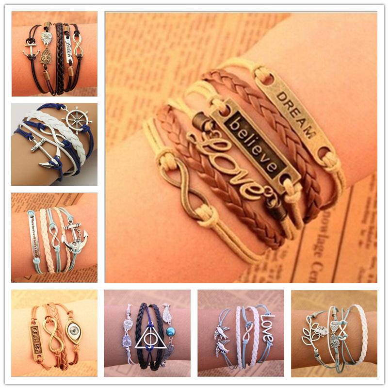 2015 Ebay hot multilayer leather bracelets men bracelets vintage retro unisex owl anchor charm friendship Bracelets for women(China (Mainland))