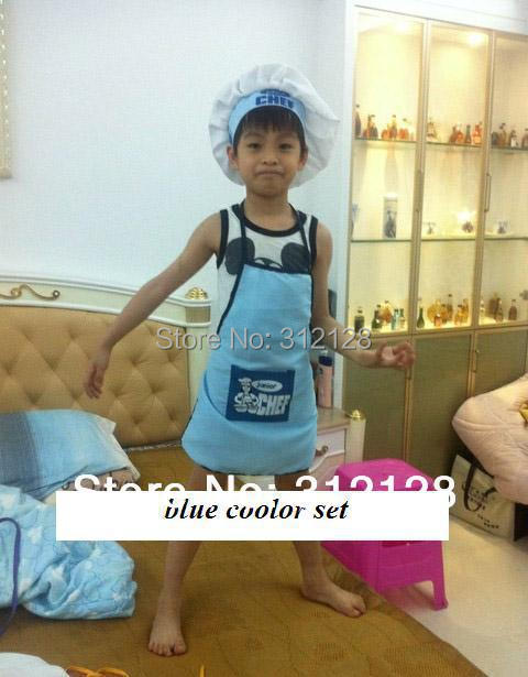 children's day show apron + hat set children cooking apron cooker hat chef cap for kids in kitchen multicolor high quality(China (Mainland))