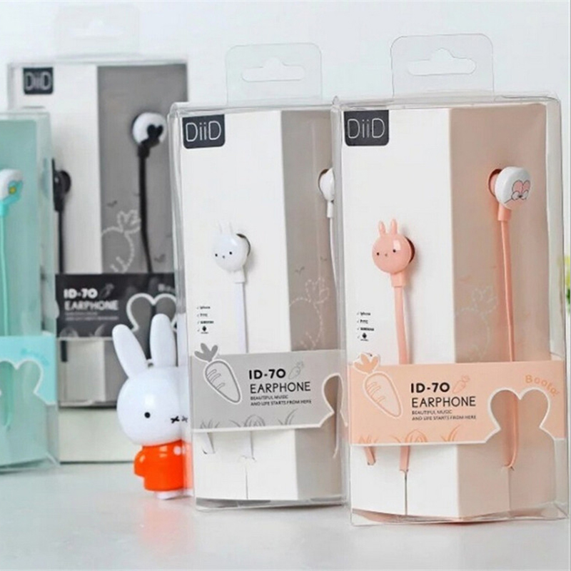 ID70 Cute Rabbit Carton Design Earphone Earbuds Wired fone de ouvido in Ear3.5 mm Audio for Mobile Phone MP3 PC(China (Mainland))