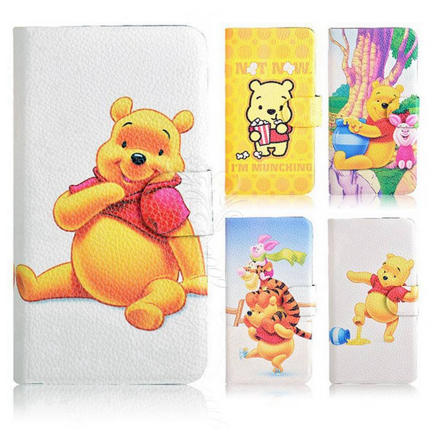 2014 Winnie the Pooh Bear Tigger Pig Card Slot Leather PU Flip Case Cover For Sony Xperia M C1905(China (Mainland))