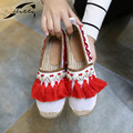 Espadrilles Spring Women Loafers Shoes 2017 Autumn Canvas Round toe beading Hemp Bottom Flat Heels frisherman