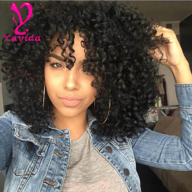 130% Curly Lace Front Wig Glueless Full Lace Wigs With Baby Hair 7a Full Lace Human Hair Wigs For Black Women short curly wig(China (Mainland))