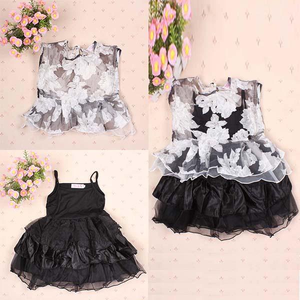 Toddler Kids Girls Sleeveless Tutu Puffy Dress Tops + Sling Dress S-XXL(China (Mainland))