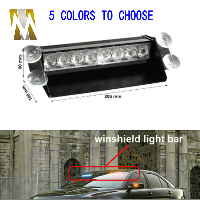 8 Led Flash Boat Truck Car Flashing Warning Emergency Windshield Unit 3 Mode Police Strobe Light Lamp Blue Red White Amber(China (Mainland))