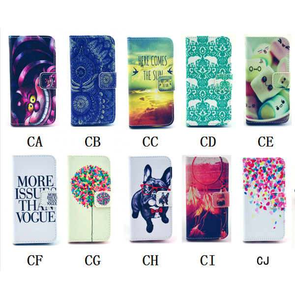 For apple iphone 4 leather case 4s wallet pouch 10 pattern stand cover for iphone 4s(China (Mainland))