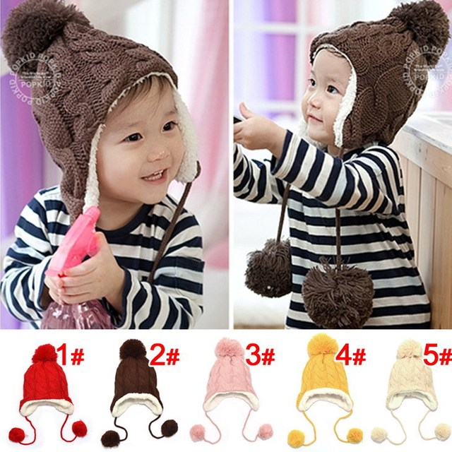 Drop Shopping 2015 New Baby Caps Hemp Pattern Knitting Children's Lovely Warm  Hats Wool Beanies  Cap Ear Protect Winter Hat