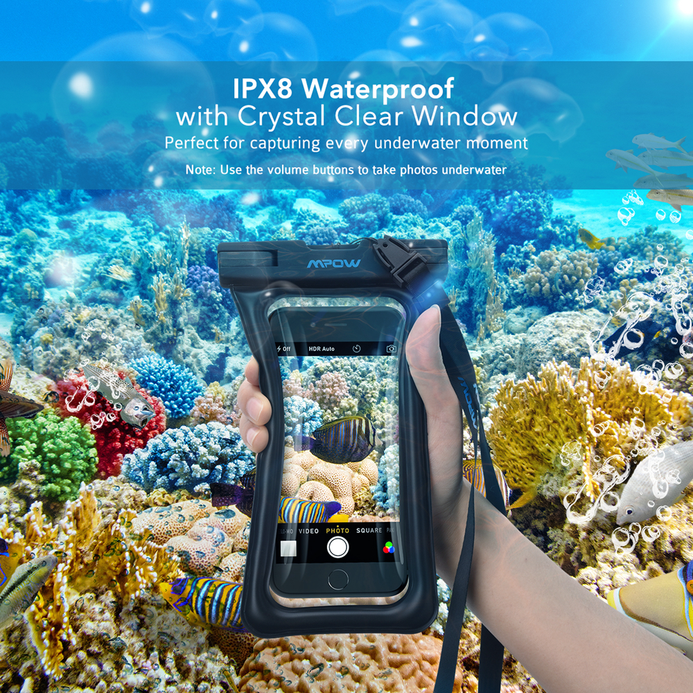 Mpow Original Floatable IPX8 Waterproof Case Dry Phone Pouch Bag for iPhone 7 Plus / LG G6 / Huawei P9 / Samsung Galaxy S8 etc(China (Mainland))