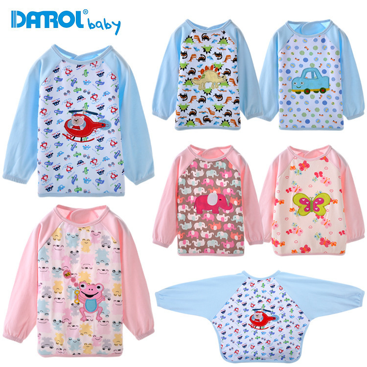 Cartoon Baby Boy Girl Slabber Dribble Bibs Long Sleeve Apron Waterproof Feeding Scarf Burp Cloth Clothing Set Bib For Children(China (Mainland))
