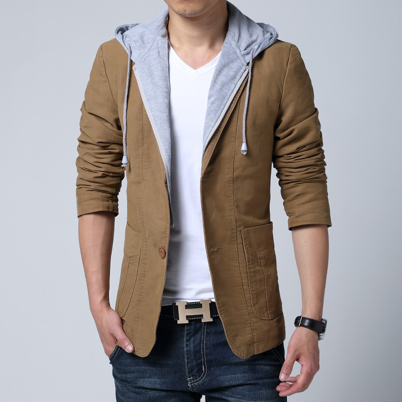2015 New Men Casual Slim Fit Blazer With Hood Spring Autumn Suit Jacket Mens Cotton Coat Blaser Masculino 13M0278Одежда и ак�е��уары<br><br><br>Aliexpress