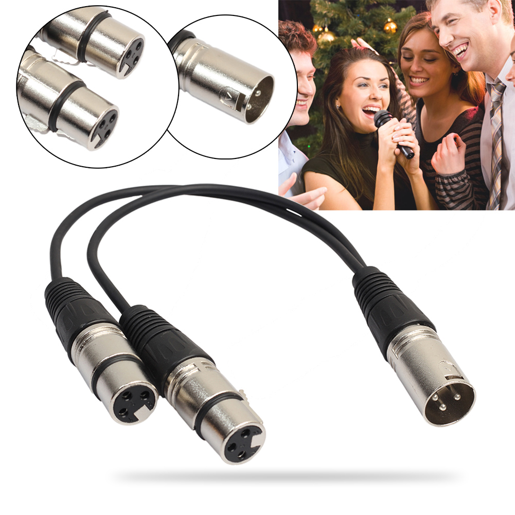34cm 3 Pin XLR 1 Male to 2 Female Audio Extension Cable Karaoke Microphone Y Audio Splitter Cable Cord Line for Mixer Recorder