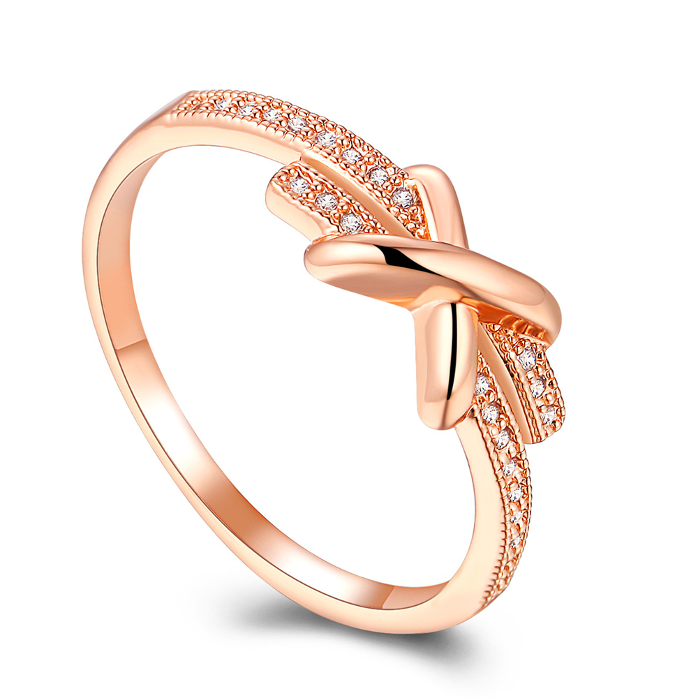 Classic Wedding Engagement Cross Cubic Zirconia Micro Pave Setting Rose Gold