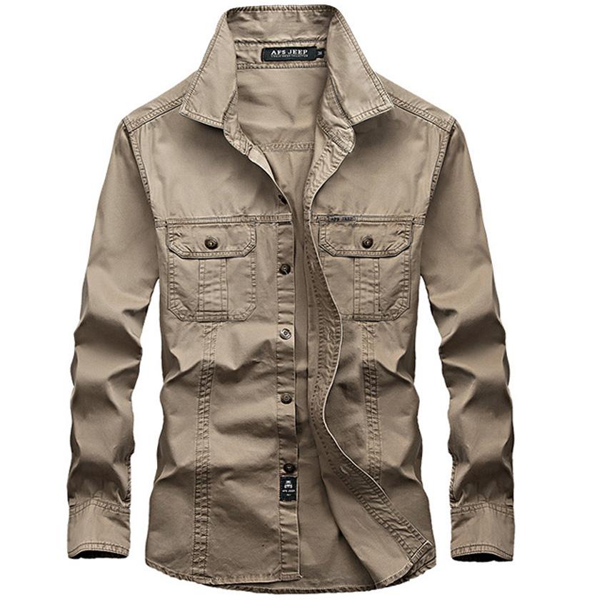 Free shipping mens casual army shirt full sleeve shirts ...