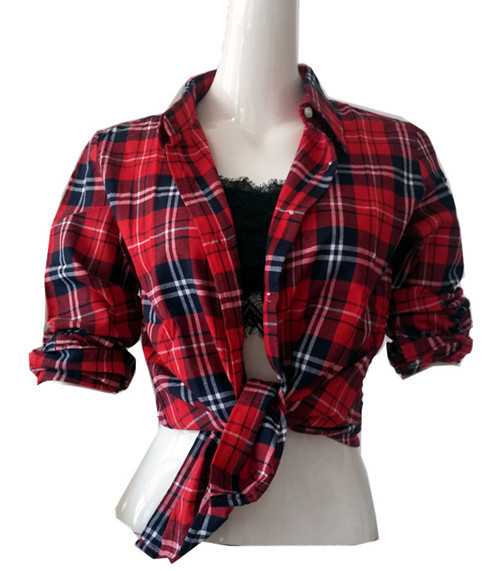 The grade school host is the naughty type part 3 the Womens red tartan plaid shirt