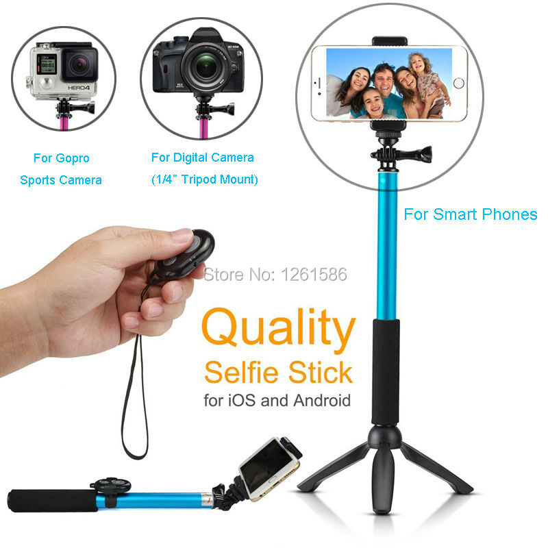 Bluetooth Selfie Stick GoPro Monopod with Tripod Stand for iPhone and Android (Blue) (7)