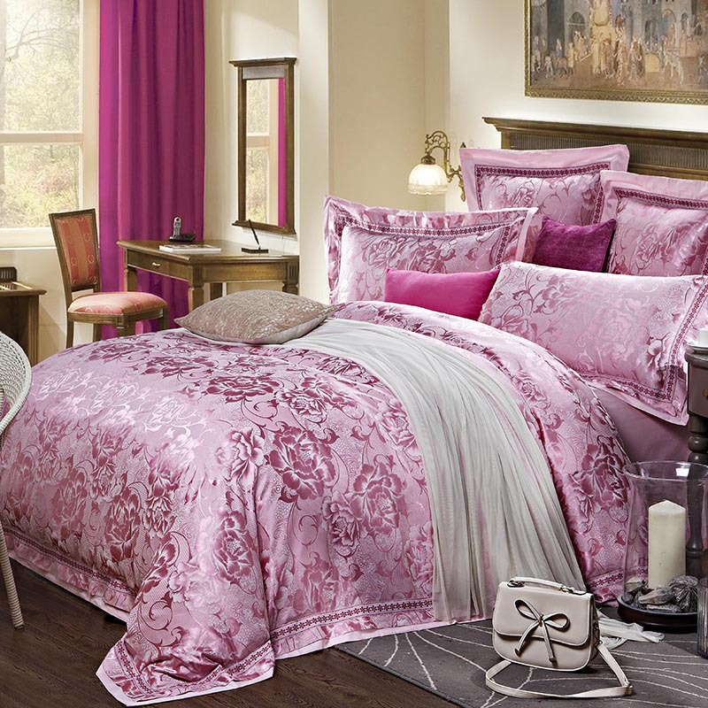 jacquard satin de qualit luxe violet rose literie de mariage couette mis reine king size housse. Black Bedroom Furniture Sets. Home Design Ideas